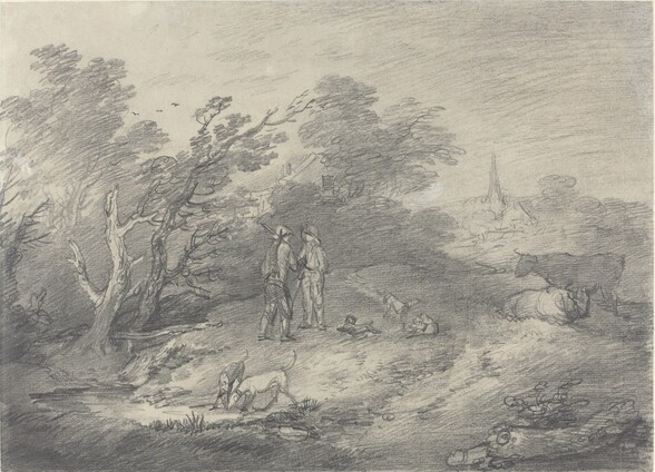 Woods Near a Village with Rabbit Catchers and Their Greyhounds