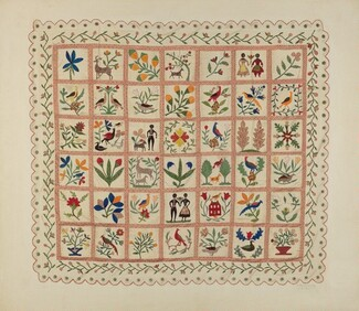 Charlotte Winter, Arlene Perkins, Applique Bedspread, c. 1941c. 1941