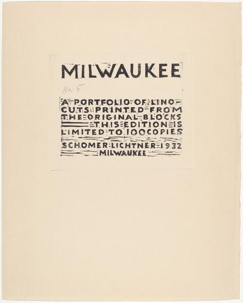 Frontispiece for Milwaukee Portfolio of Lino-cuts