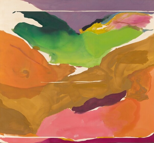 """This nearly abstract painting is created with areas of mostly single colors in caramel brown, pine and spring green, apricot orange, plum purple and fuchsia, and smaller bands of yellow, pink, and black around streaks of unpainted canvas in this horizontal painting. A wide, tan-colored band that rises from the lower left corner toward the upper right and a triangular form in pumpkin orange to our left recall hills along a valley. Pink, orange, deep purple, and fuchsia are painted in bands in the lower right corner and across the bottom. Above the tan band that reads as a hill, a wide swath of spring and dark green may suggest hills beyond, with swirling yellow, black, pink, and blue under a patch of lavender purple that spans the top edge of the canvas and could read as sky. The painting is signed and dated at the lower right corner, """"Frankenthaler '73."""""""