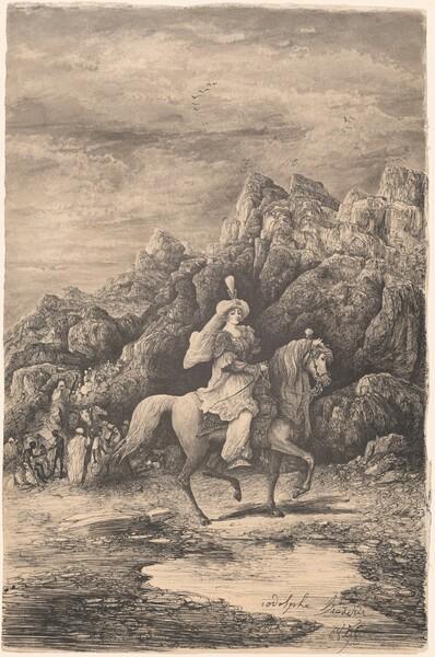 Oriental Horsewoman in a Desolate Mountain Landscape