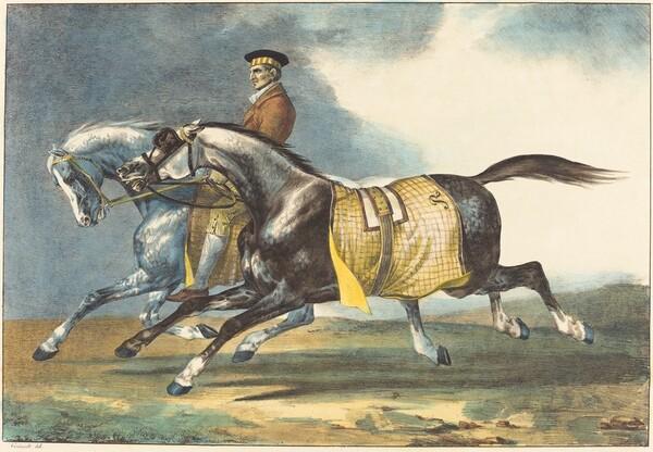 Two Dapple-Gray Horses Exercising (Deux chevaux gris pommele que l
