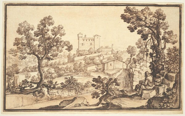 Landscape with a Man Resting, Farm Houses, and a Castle