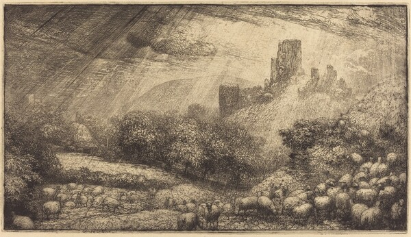 Corfe Castle: Effect of Sunshine after Rain