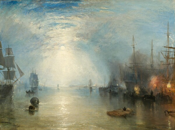 """We seem to hover over a flaxen-colored, yellow-gray body of water lined with ships to our left and right, which are silhouetted against a moonlit, cloud-veiled sky, which fills the top two-thirds of this horizontal landscape painting. The moon hangs to our left of center in the sky, its light reflecting on the clouds in a bright, hourglass shape to create a tunnel-like effect. The sea below turns from a golden, gray color close to us to pale blue along the horizon. To our left, one ship with gray sails is cut off by the edge of the canvas and another, also with gray sails, is situated farther away from us. A small, dark rowboat with two passengers moves between them. Light from the windows in buildings along the distant horizon to our left reflect in the water, and another building, a factory, spouts white flame from its chimney. More dark ships line the waterway to our right, their spiky masts black against the sky. Three flames, one orange between two pale yellow fires, flare in the darkness in front of the ship closest to us. The forms of men shoveling coal, crates, and barges are dark silhouettes against the firelight and smoke. More rowboats float among the boats in the distance. Near the lower right corner of the canvas, a broad, flat fragment of wood, perhaps a piece of a wreckage, floats close to us. The hot orange and black on the right side of the painting contrasts with the silvery grey, light blue, and white that fills much of the rest of the composition. The painting was created with thick, blended brushstrokes throughout, giving the scene a hazy look. The texture of some of the brushstrokes is especially noticeable, as where the moon casts white light onto the water and in the clouds. The artist signed a buoy floating to our left with his initials, """"JMWT."""""""
