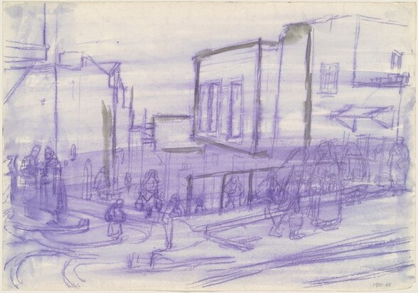 Figures on a City Street [verso]