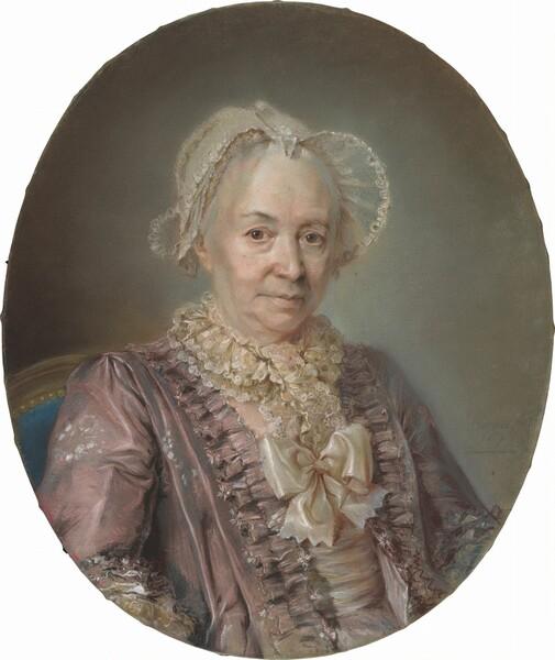 An Elderly Lady in a Mauve Silk Dress