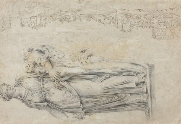 View of the Tiber; Copy of a Roman Sculpture of a Bacchante [verso]