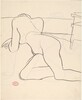 Untitled [reclining nude turning to rest on her arms]