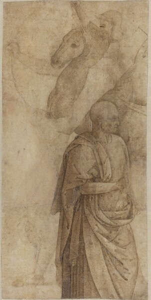 Rider and Standing Draped Man, after the Antique [verso]