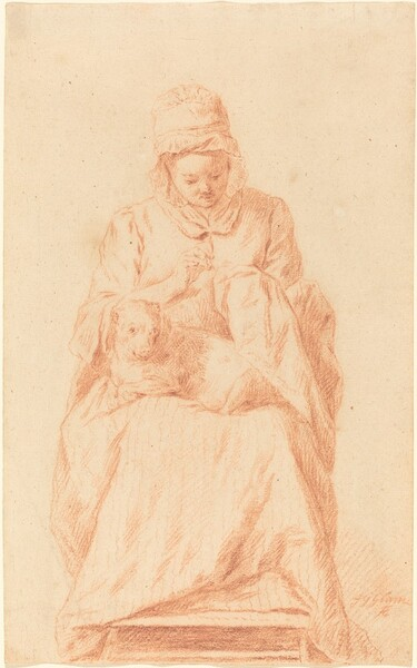 Young Woman Sewing with a Dog Resting on Her Lap