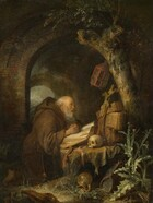 A pale-skinned, balding man with a fringe of white hair and a long, wispy gray beard kneels with his fingers intertwined in prayer and resting on the open pages of a large book, in a shadowy grotto-like space in this vertical painting. He faces our right in profile, and his eyes look up towards a crucifix propped up against several woven baskets leaning against a moss-covered, gnarled tree. He wears a dark tawny-brown robe with a voluminous hood, and a string of thick rosary beads hanging from his waist ends with a tiny skull and a cross. A brick archway frames him, and another is scene through the opening. New, slender shoots grow where several limbs had been cut from the tree trunk, and an unlit lantern hangs from the tree over the crucifix. The book, baskets, and crucifix along with a skull and hourglass sit on a rock covered by a cloth. An overturned pottery jug, a water jug, and a horse's skull rest among a tall thistle plant and grass at the foot of the rock, in the lower right corner of the panel.