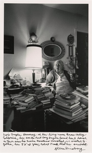 Lois Snyder Hennessy in her living-room Grass Valley California, her son the Poet Gary Snyder found her a house in town near his Sierra Mountains homestead, we visited together, her 82