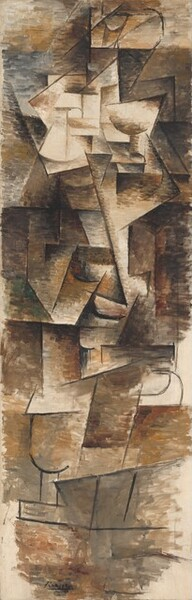 """Overlapping, geometric shapes painted in tones of tan, oatmeal, and coffee brown and outlined in black cluster along the center of this tall, vertical, abstract painting. Except for the outlines, the paint is put on in long, horizontal strokes to create patches of color. The unpainted canvas shows through in some areas, especially in the lower corners and up the right edge. A few shapes could recall body parts, like curved shapes for breasts near the top and an angled line for an elbow. The artist signed the work with black paint at the lower center: """"Picasso."""""""
