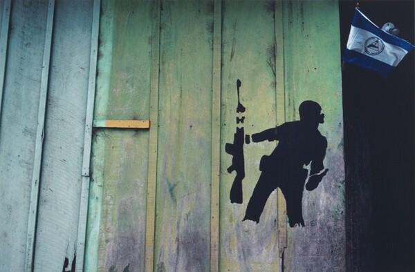 Wall stencil based on Molotov Man, Estelí, Nicaragua, 1982