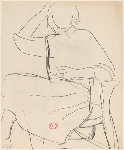 Untitled [seated woman with her right hand on her head]