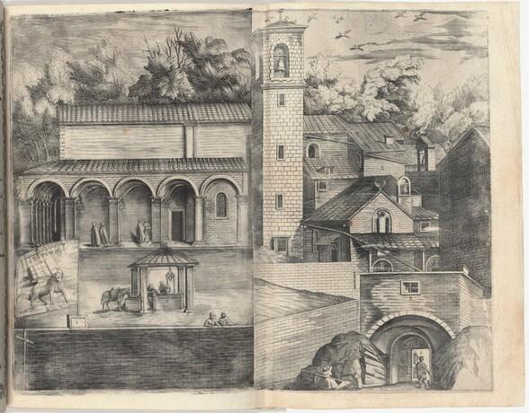View of the Quadrant: the Main Door, the Square, the Church and the Loggia of the Monastery of the Monte della Vernia (Prospettiva dell