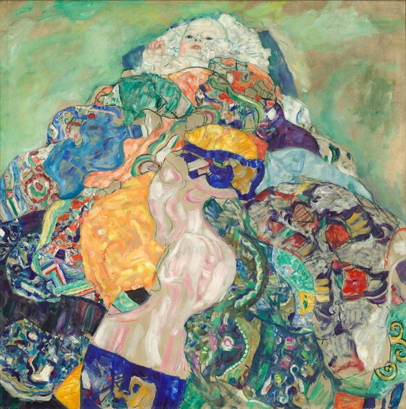 A baby nestles in a mass of white frilly fabric atop a colorful patchwork, perhaps a pile of quilts, against a sage and spring green background in this square painting. The baby's face and right hand peeks out from the mountain of fabric at the top center of the composition. The infant has pale white skin and pink cheeks and pink lips, and looks down at us with large dark eyes. The pile of fabric creates a mosaic-like mix of pattern and color with vibrant royal and baby blues, sage greens and turquoise, butter yellow, and shell and salmon pinks. Some patterns are outlined in black while brushstrokes swirl together in other areas. The background is mottled with cool mint and asparagus green strokes against pale beige.