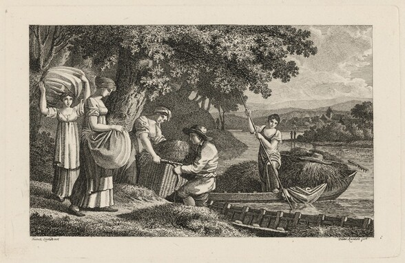 A Group of Peasants Loading Hay onto Boats