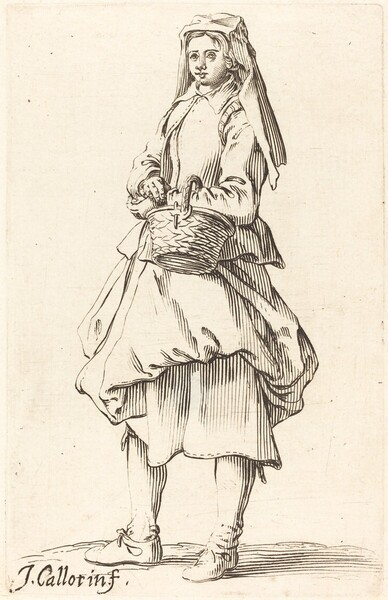 Peasant Woman with Basket, Facing Left