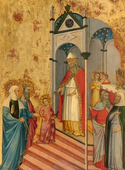 An older woman and man stand behind a young girl who climbs the steps of a structure, in which a bearded man stands with his hands outstretched, while a group of four women and a pair of bearded men gather to our right, all against a shimmering gold background in this vertical painting. All the people have light skin with long noses, dark eyes, and their garments are edged with gold. The young girl, Mary, walks to our right but looks back to our left. She has reddish blond hair pulled back under a scarlet red headband, hazel-green eyes, and her rosebud lips are closed. Her rose-pink, long-sleeved dress falls to her feet and is covered with a stylized, gold, floral pattern. She holds a book with a red cover in one hand and holds up the hem of her dress with the other. She and the two older people behind her have flat, gold halos incised with geometric patterns surrounding their heads. The older couple behind her face our right in profile. The older woman stands closer to us, wearing a white veil that covers her head, neck, and shoulders. With one hand she holds the sides of her aquamarine-blue cloak closed over her pine green dress, and she holds her right hand, to our left, up near her shoulder with the palm facing Mary. The man behind her has a gray beard and wavy hair, and he wears a dusky-rose colored cloak over a long-sleeved garment of the same blue. He raises his right hand near Mary's elbow, as if encouraging her up the peach-colored stairs she climbs. The arched, domed structure above has ivory-white walls, and the ceiling is blue with gold stars. Mary walks up toward a man standing with his hands open toward her in the structure. He has shoulder-length, curly gray hair and a long beard, and wears a tall, pointed cap above a gold crown. His crimson-red cloak falls open over a long white robe that ends just shy of the golden-yellow garment beneath, which falls to his feet. Tucked into the corner behind him and to our right, four young girls or women with blon