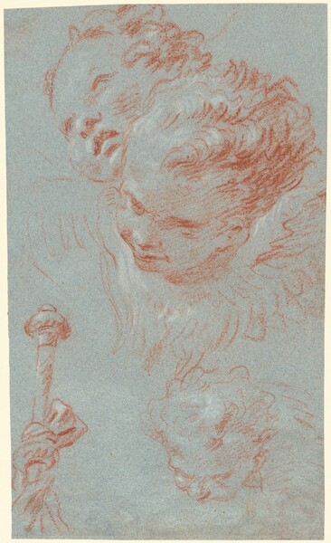 Three Cherubs and a Beribboned Staff