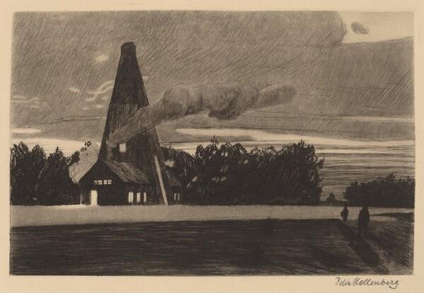 A Drilling Hut at Nightfall