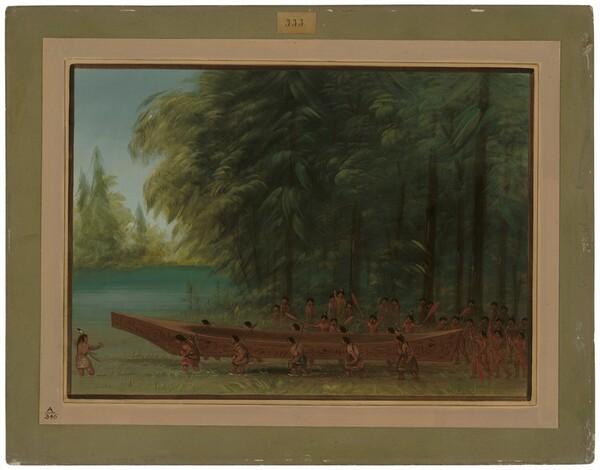 Launching a Canoe - Nayas Indians
