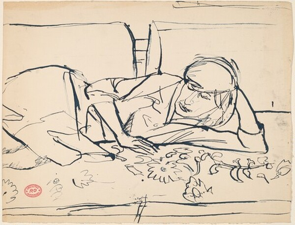 Untitled [reclining woman resting on a floral spread]