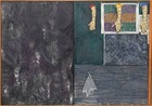 """Three casts of human hands and forearms hang from the top edge of the right half of this horizontal abstract painting, which is divided vertically in two equal parts. The rectangular field to the left is mottled with steel and charcoal gray streaked with white and amethyst purple. The panel to the right is divided again so the top half is slightly larger than the bottom half. The bottom portion is painted with a pattern to resemble abstracted wood grain in nickel and slate gray. A stylized white cloth, perhaps a handkerchief, is painted to look as if hanging from a nail hammered into the wood paneling, to our left. The top portion seems to be layered with paintings and prints below and beneath the three arms. The arms hang from looped metal wires on metal hooks spaced along the top edge, coming about a quarter of the way down the overall composition. The peach colored arms and hands are painted all over with irregular gray patches, creating a camouflage effect. They hang down so the open palms are flat against the canvas, the thumbs extended to our left. The top of the arm to our left is painted cherry red, the middle is painted canary yellow, and the right arm royal blue. The paint drips down the arms and splatters on the hands and on the faux wood panel below. Behind the hands, it appears that one of the artist's prints hangs from two nails on the canvas. The illusionistic print has three horizontal bands of pine green, pumpkin orange, and violet purple crisscrossed with black lines. Seeming to hang behind it and under the right-most arm is a sheet of music overlapping another piece of paper printed with the letters """"OHN C"""" and """"THE PERILOUS."""" Below, and filling the space between the illusionistic print and the wood panel, is a rectangular field of abstract gray and black swirling forms. The entire canvas is surrounded by a thin, amber-colored wood frame. A narrow wooden slat is hinged on the inner surface of the frame at the bottom right corner, and runs up along"""