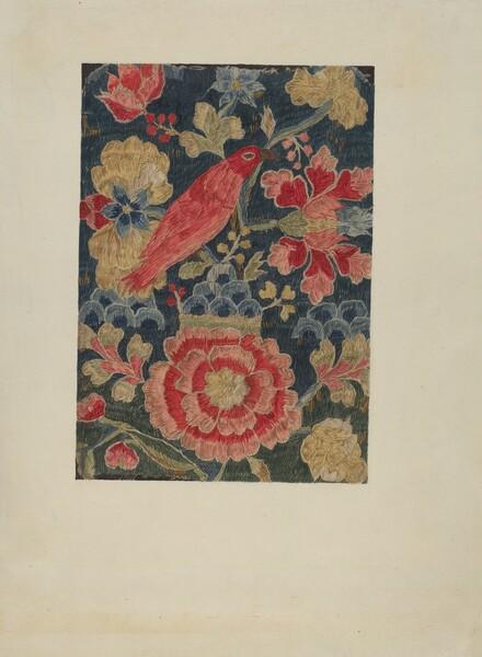 Crewel Embroidered Panel