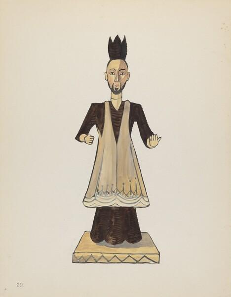 Plate 39: St. John Nepomuk Bulto: From Portfolio Spanish Colonial Designs of New Mexico