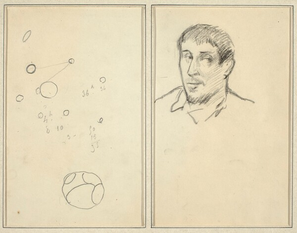 Circles and Numbers; Self-Portrait [recto]