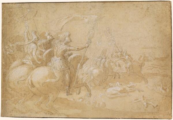 Ancient Roman Warriors Riding into Battle