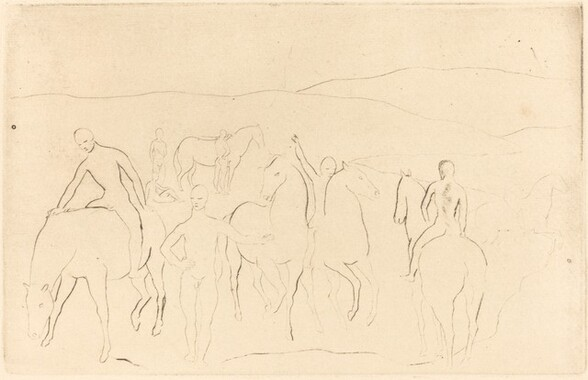 The Watering Place (Horses Bathing) [L