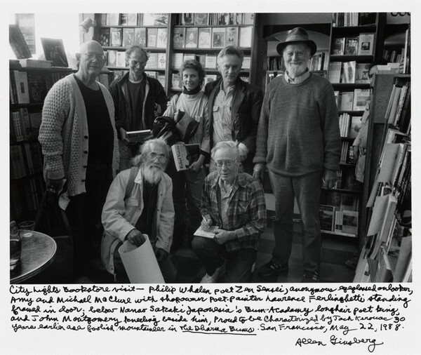 City Lights Bookstore visit—Philip Whalen poet Zen Sensei, anonymous eyeglassed onlooker, Amy and Michael McClure with shopowner poet-painter Laurence Ferlinghetti standing framed in door; below Nanao Sakaki Japonesia's Bum-Academy longhair poet king, and John Montgomery kneeling beside him, Proud to be Characterized by Jack Kerouac 30 years earlier as a foolish mountaineer in The Dharma Bums. San Francisco, May 22, 1988.