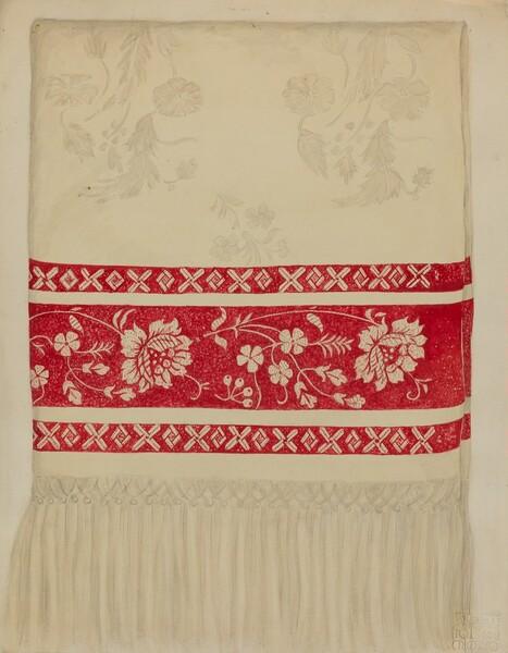 Linen Towel - Flower Design