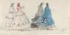 Four Ladies in Crinolines Walking at Trouville