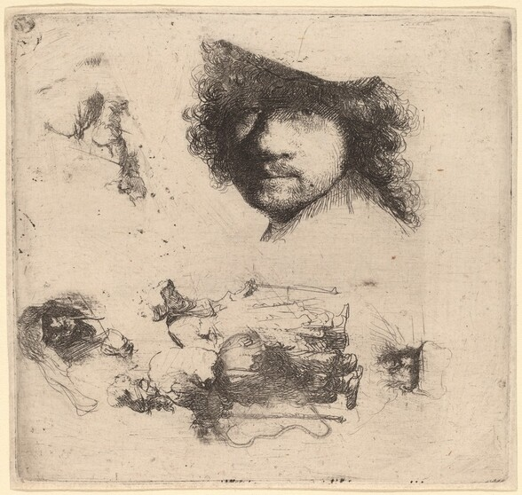 Sheet of Studies including Head of the Artist, a Beggar Couple, Heads of an Old Man and Old Woman