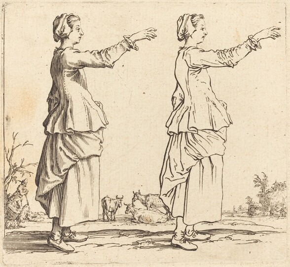 Peasant Woman, in Profile, Facing Right,  with Arm Extended