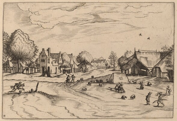 Country Village with Sheep and Sitting Shepherd