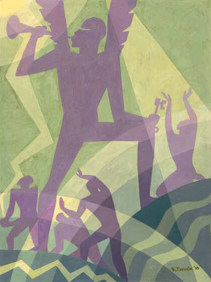"""A winged person blowing a horn stands silhouetted in lilac-purple against a field of alternating celery and soft lime green bands in this abstracted vertical painting. The person's body is angled toward us but they look over their shoulder, to our left in profile, as they hold a horn to their lips. The horn reaches into the top left corner of the composition, and the wings extend off the top edge of the canvas. A shallowly curving slit indicates the eye. The person stands with each foot on two rounded forms like stylized hills. The mound on our right is higher so the knee is bent, and the person holds a skeleton key in the hand propped on that knee. The hill to our right has wavy bands of muted pine and sage green and the hill to our left has a zigzag line of the sage across the darker green. Seeming farther away from us, four people, smaller in scale, are outlined as amethyst-purple silhouettes. One person to our right of the angel kneels and raises their hands high overhead, face turned to the sky. Two more people standing on or behind the left mound are framed between the trumpeter's legs, and the fourth person stands with hands clasped, also looking towards the sky. Concentric arcs of lemon yellow and pale green suggest a sun in the upper left corner. The artist signed and dated the work with dark green paint in the lower right corner: """"A. Douglas '39."""""""