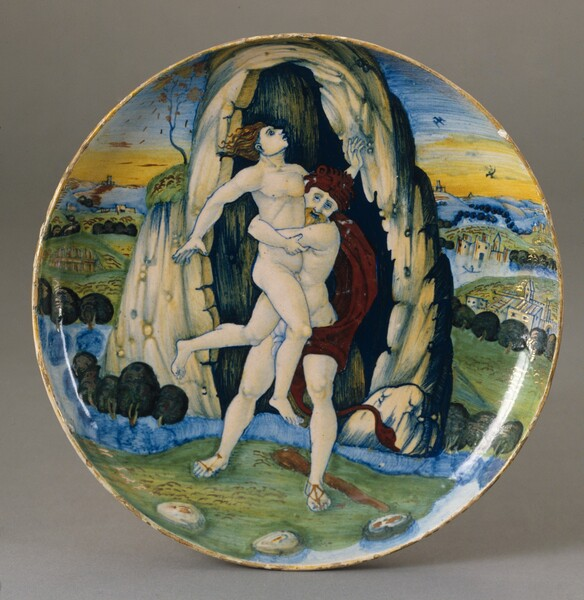 Shallow bowl with Hercules overcoming Antaeus