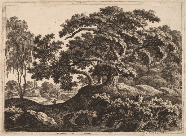 Landscape with Man Pushing a Cart