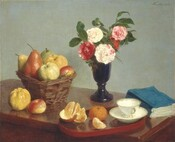 """We seem to look down onto a wooden surface, a table or buffet, holding a basket of fruit, a vase of pink and white flowers, a book with a sea-blue, soft cover, and a small tray holding a teacup and saucer and two pieces of fruit like oranges in this horizontal still life painting. The wooden surface is highly polished and has a red tint, like cherry. The oval, rust-red tray holding the teacup and oranges has a lip around the edge. One orange is peeled, and a segment sits near an unpeeled fruit. The empty white teacup has a flaring lip and a delicate gold handle, and the cup and saucer are edged in gold. The tray sits across the corner of the table, close to us, and extends off the table to our left. The thick, soft-bound book is placed beyond the tray, to our right. Behind the tray, a tall, goblet-like, cobalt-blue vase with a pedestal foot holds five flowers, possibly carnations, among green leaves. Two blossoms are cream-white, two are ruby-red, and the fifth flower is streaked with both colors. To our left, a rectangular, woven, wicker basket holds three pears, two apples, and a quince. The pears are blush red, golden yellow, or pale green. One apple is butter yellow and one is red streaked with buttercup yellow. The quince is lemon-lime yellow. A pale-yellow quince and red and yellow apple sit on the table in front of the basket, near the tray. The background is painted a muted sage green. The artist signed and dated the work with dark green paint in the upper right corner: """"Fantin. 1866."""""""