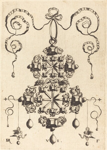 Large Pendant with Two Double Crosses, Surrounded by Six Large and Sixteen Small Table-Stones
