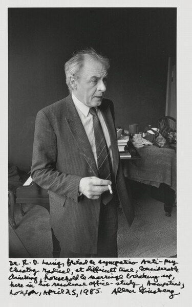 Dr. R.D. Laing, friend & sympatico anti-psychiatry radical, at difficult time, considerable drinking, household & marriage breaking up, here in his residence office-study, Hampstead, London, April 25, 1985.