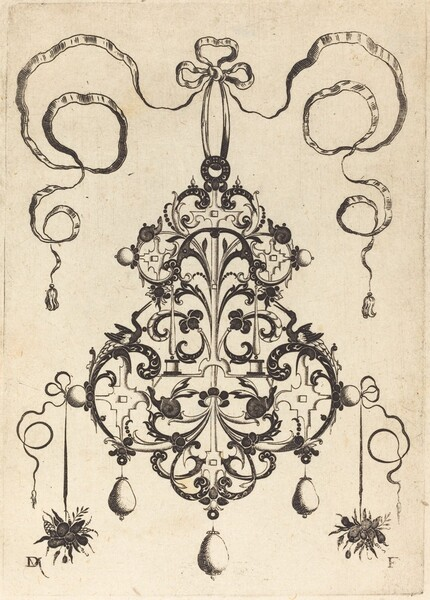 Large Pendant, Lower Left and Right Two Bunches of Grass and Fruit