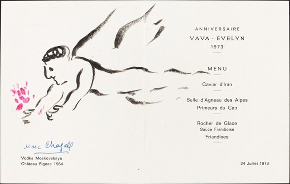 Birthday Menu with a Drawing of an Angel