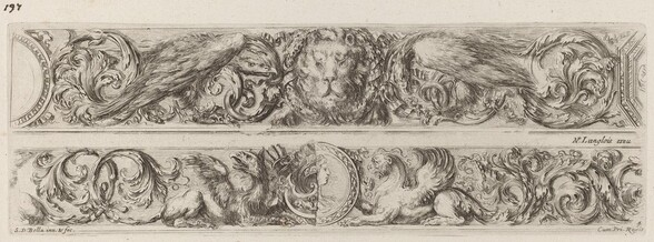 Two Ornamental Bands with Head of a Lion and Woman